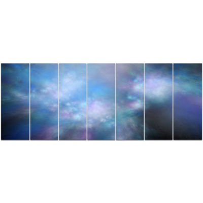 Perfect Light Blue Starry Sky Abstract Canvas ArtPrint - 7 Panels