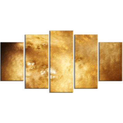 Perfect Brown Starry Sky Contemporary Canvas Art Print - 5 Panels