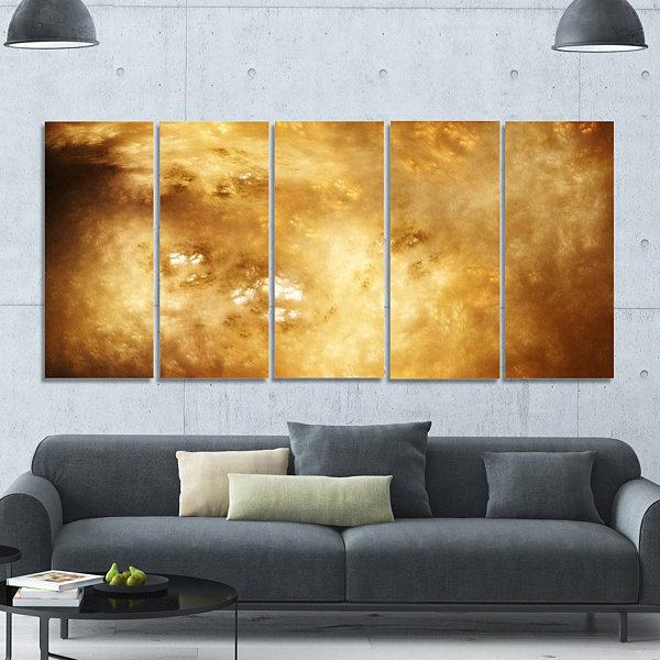 Perfect Brown Starry Sky Abstract Canvas Art Print- 5 Panels