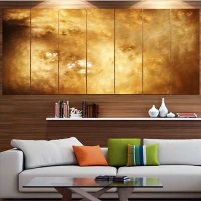 Perfect Brown Starry Sky Abstract Canvas Art Print- 7 Panels