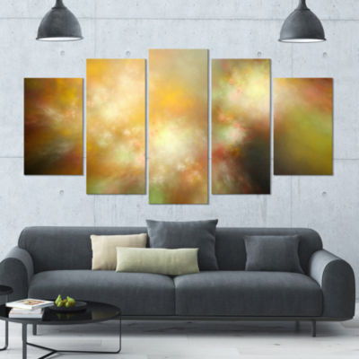 Perfect Yellow Green Starry Sky Contemporary Canvas Art Print - 5 Panels
