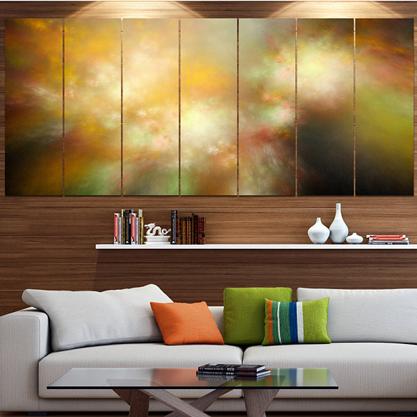 Perfect Yellow Green Starry Sky Abstract Canvas Art Print - 6 Panels