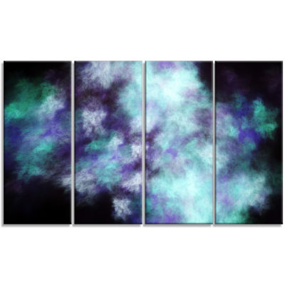 Perfect Flowery Starry Sky Abstract Canvas Art Print - 4 Panels