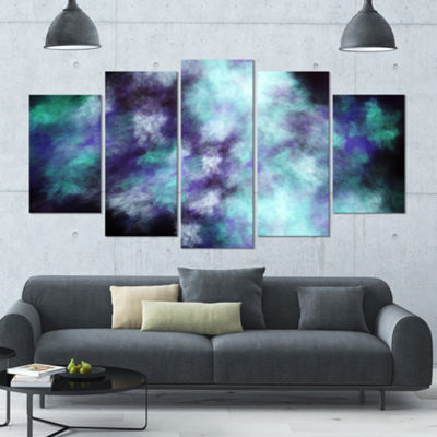 Perfect Flowery Starry Sky Contemporary Canvas ArtPrint - 5 Panels