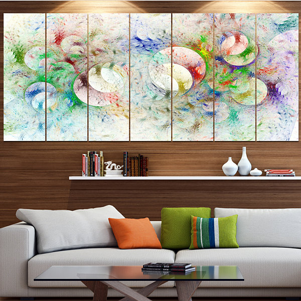 White Fractal Ornamental Glass Abstract Canvas ArtPrint - 6 Panels