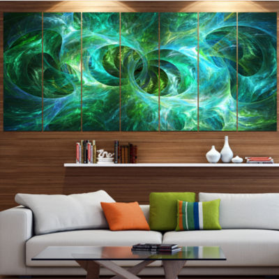 Designart Blue Fractal Ornamental Glass AbstractCanvas ArtPrint - 5 Panels