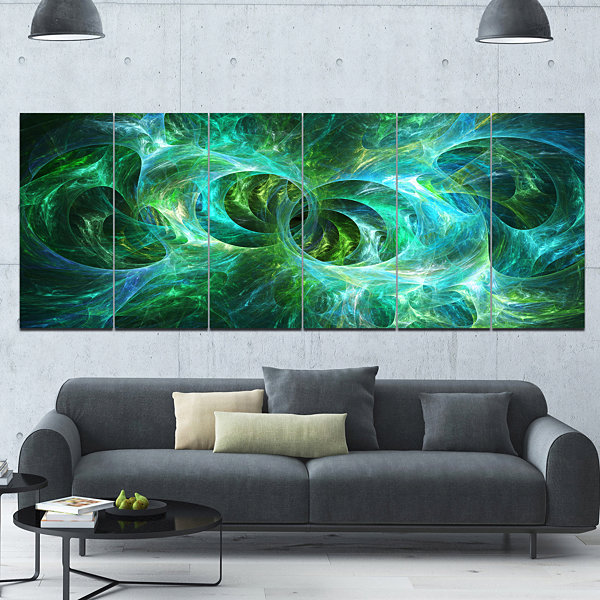 Design Art Blue Fractal Ornamental Glass AbstractCanvas ArtPrint - 6 Panels