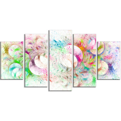 Snow Fractal Ornamental Glass Contemporary CanvasArt Print - 5 Panels