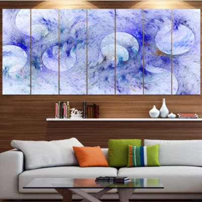 Light Blue Fractal Glass Texture Contemporary Canvas Art Print - 5 Panels