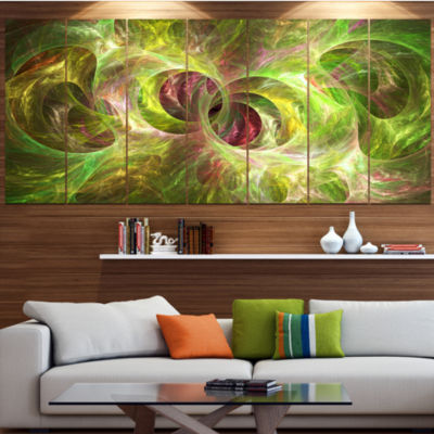 Yellow Fractal Ornamental Glass Contemporary Canvas Art Print - 5 Panels