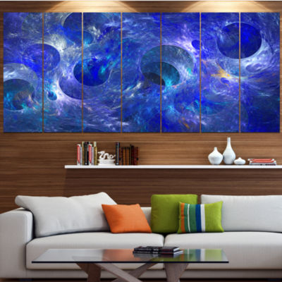 Designart Clear Blue Fractal Glass Texture Contemporary Canvas Art Print - 5 Panels