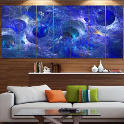 Designart Clear Blue Fractal Glass Texture Abstract Canvas Art Print - 6 Panels