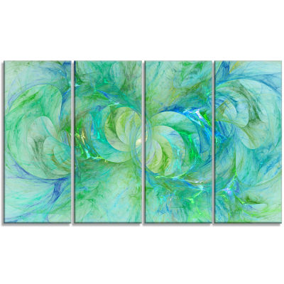 Snow Fractal Glass Texture Abstract Canvas Art Print - 4 Panels