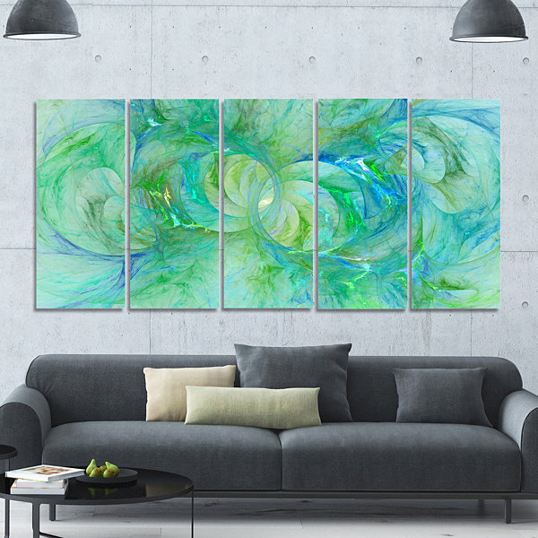 Snow Fractal Glass Texture Abstract Canvas Art Print - 5 Panels