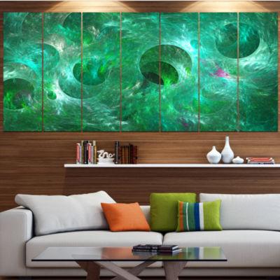 Green Fractal Glass Texture Contemporary Canvas Art Print - 5 Panels