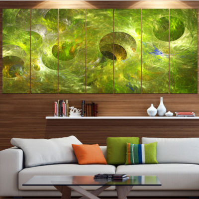 Golden Fractal Ornamental Glass Contemporary Canvas Art Print - 5 Panels