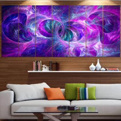 Snow Purple Fractal Texture Contemporary Canvas Art Print - 5 Panels