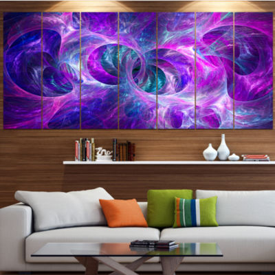 Snow Purple Fractal Texture Abstract Canvas Art Print - 6 Panels