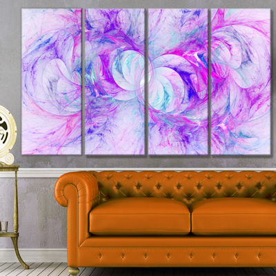 Light Purple Fractal Texture Abstract Canvas Art Print - 4 Panels