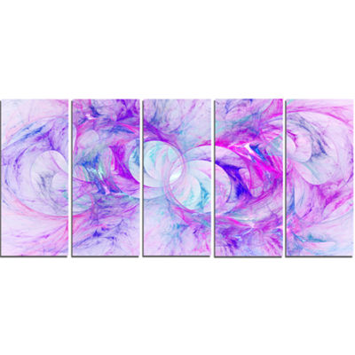 Light Purple Fractal Texture Abstract Canvas Art Print - 5 Panels
