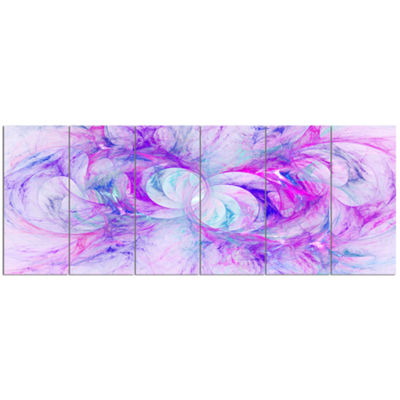 Light Purple Fractal Texture Abstract Canvas Art Print - 6 Panels