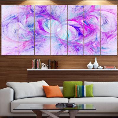 Light Purple Fractal Texture Abstract Canvas Art Print - 7 Panels