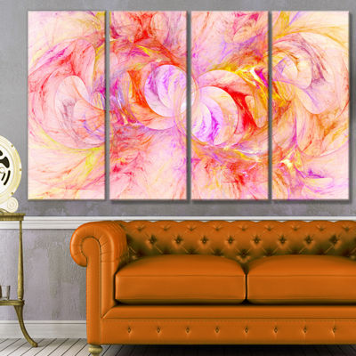 Red Yellow Fractal Glass Texture Abstract Canvas Art Print - 4 Panels