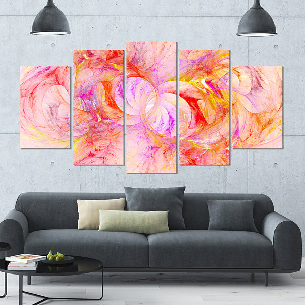 Red Yellow Fractal Glass Texture Contemporary Canvas Art Print - 5 Panels