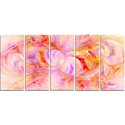 Red Yellow Fractal Glass Texture Abstract Canvas Art Print - 5 Panels