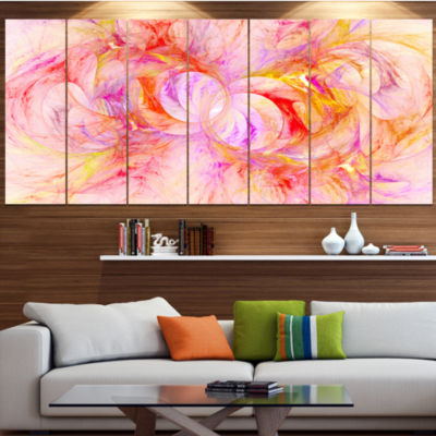 Red Yellow Fractal Glass Texture Abstract Canvas Art Print - 7 Panels