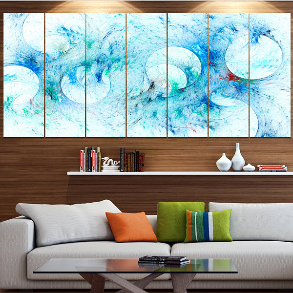 Designart Blue White Fractal Glass Texture Contemporary Canvas Art Print - 5 Panels