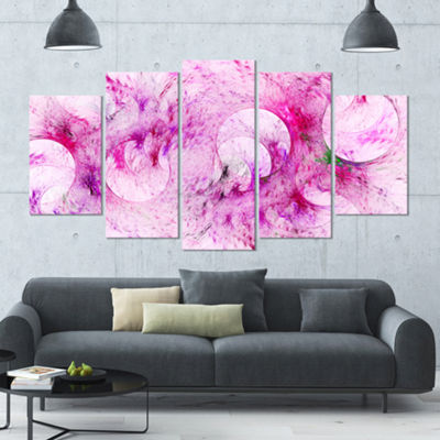 Pink White Fractal Glass Texture Contemporary Canvas Art Print - 5 Panels