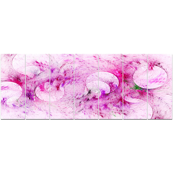 Pink White Fractal Glass Texture Abstract Canvas Art Print - 7 Panels
