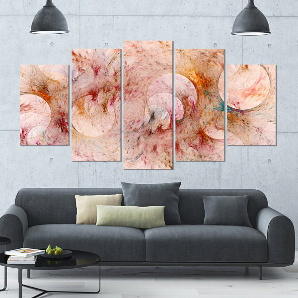 Red Circles Fractal Texture Contemporary Canvas Art Print - 5 Panels