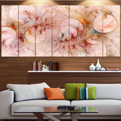 Red Circles Fractal Texture Abstract Canvas Art Print - 7 Panels