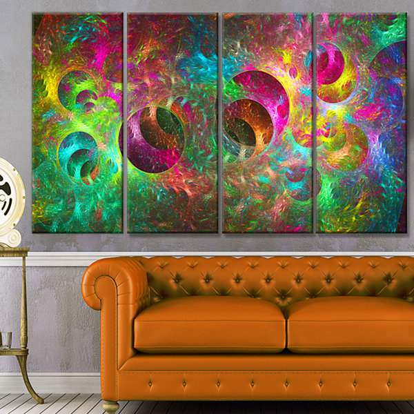 Multi Color Fractal Glass Texture Abstract CanvasArt Print - 4 Panels