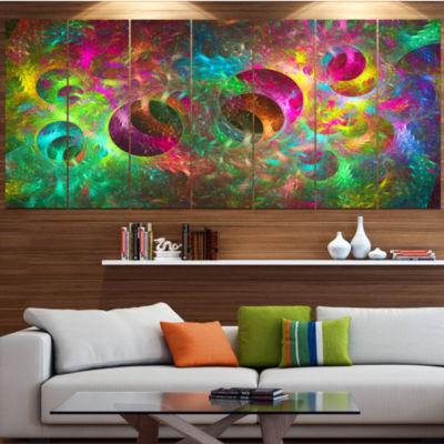 Multi Color Fractal Glass Texture Contemporary Canvas Art Print - 5 Panels