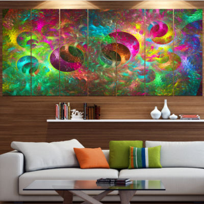 Multi Color Fractal Glass Texture Abstract CanvasArt Print - 5 Panels