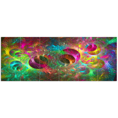 Multi Color Fractal Glass Texture Abstract CanvasArt Print - 6 Panels