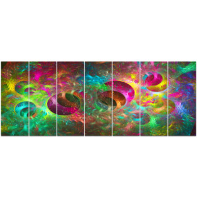 Multi Color Fractal Glass Texture Abstract CanvasArt Print - 7 Panels