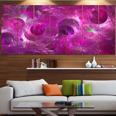 Designart Dark Pink Fractal Glass Texture Contemporary Canvas Art Print - 5 Panels