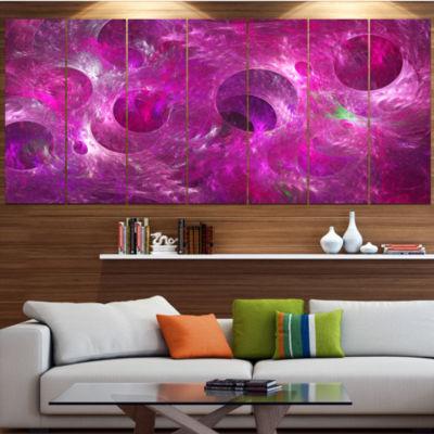 Designart Dark Pink Fractal Glass Texture AbstractCanvas Art Print - 7 Panels