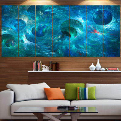 Designart Blue Circles Fractal Texture Abstract Canvas Art Print - 7 Panels