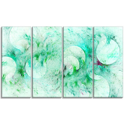 Green Circles Fractal Texture Abstract Canvas ArtPrint - 4 Panels