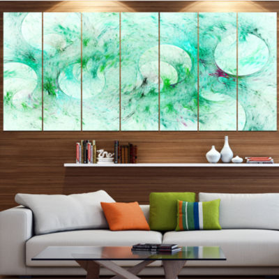 Green Circles Fractal Texture Contemporary CanvasArt Print - 5 Panels