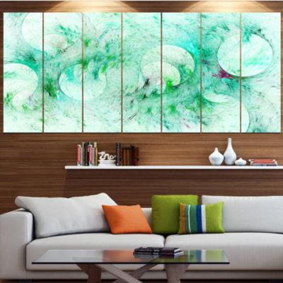 Green Circles Fractal Texture Abstract Canvas ArtPrint - 7 Panels