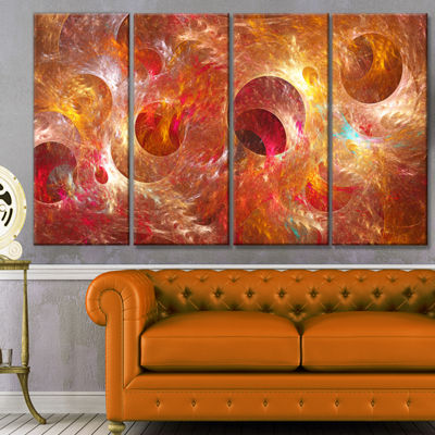 Red Yellow Circles Texture Abstract Canvas Art Print - 4 Panels