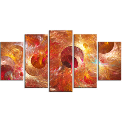 Red Yellow Circles Texture Contemporary Canvas ArtPrint - 5 Panels