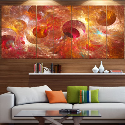 Red Yellow Circles Texture Abstract Canvas Art Print - 5 Panels