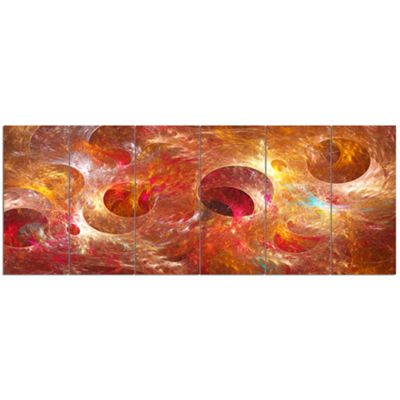 Red Yellow Circles Texture Abstract Canvas Art Print - 6 Panels